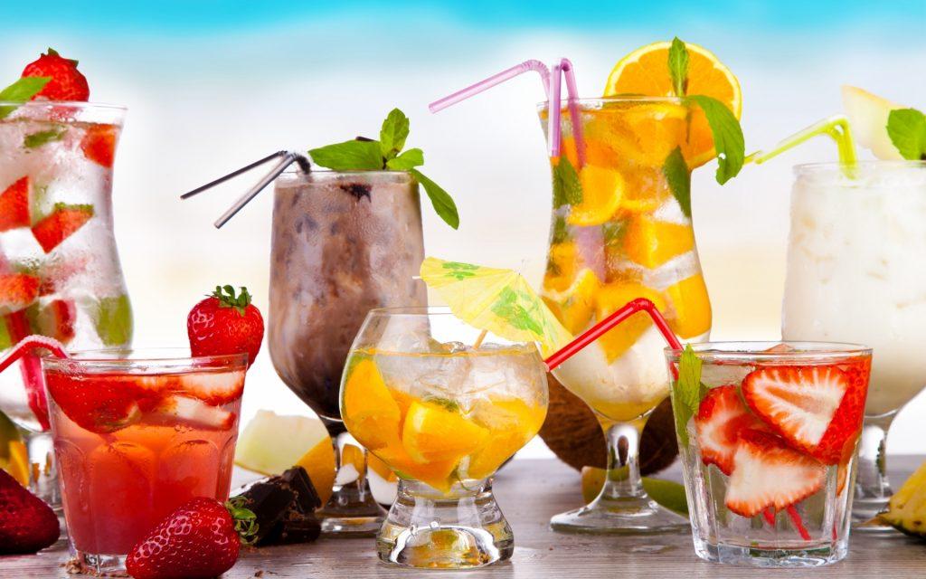 Fondos de bebidas de frutas frescas