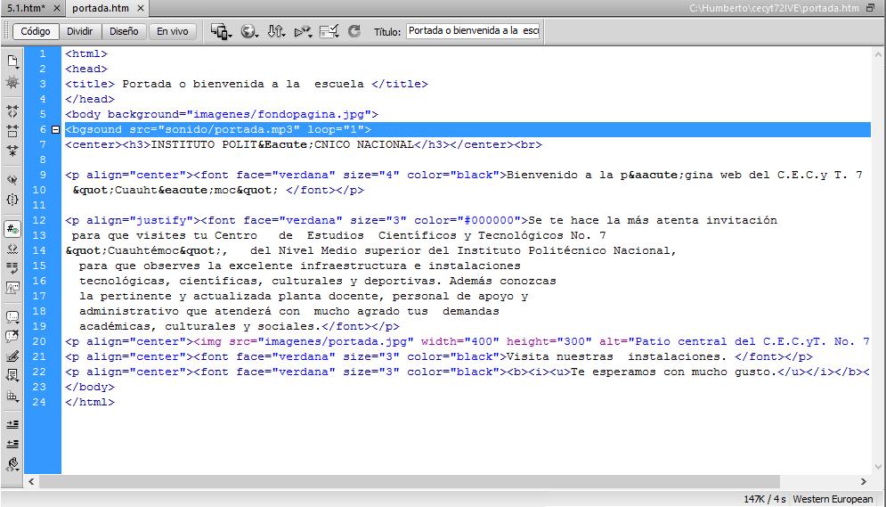 Etiqueta para poner imagen de fondo en HTML