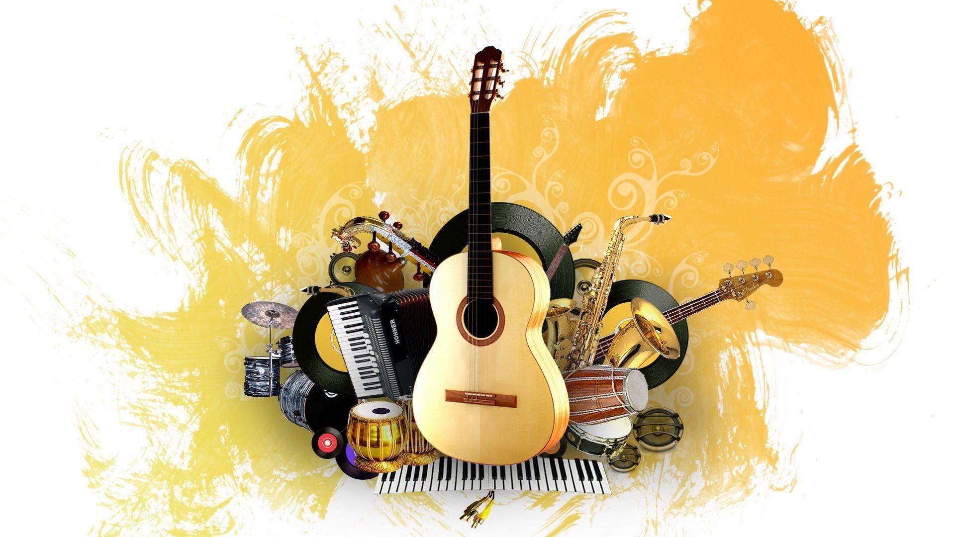 Fondo de pantalla con los mejores instrumentos musicales