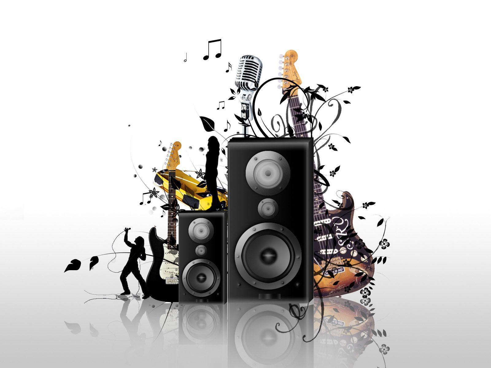 Wallpaper bocinas e instrumentos musicales