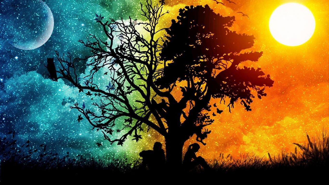 Imagen de colores con arboles