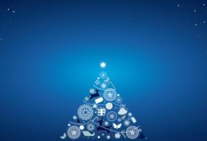 Fondo azul con árbol de Navidad. Formato Hofmann classic