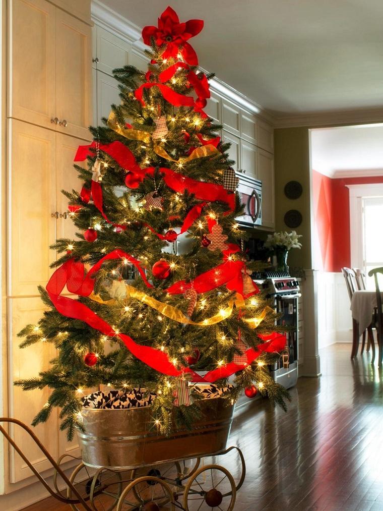 imagenes de arboles de navidad decorados con mallas
