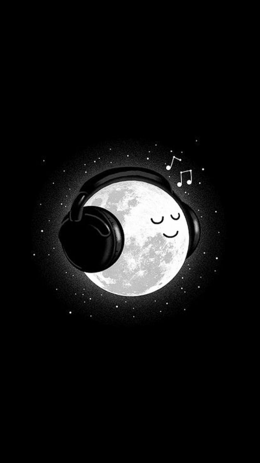 Fondo de pantalla luna escuchando musica