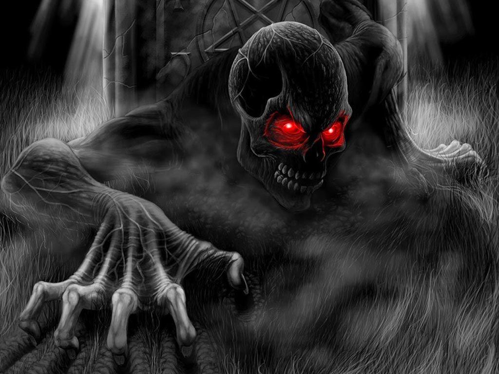 Wallpaper de calavera con ojos rojos