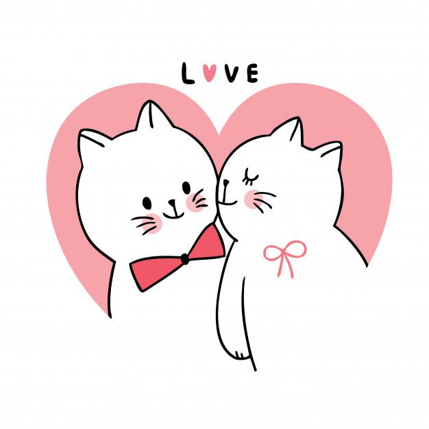 Gatos besándose en dibujo