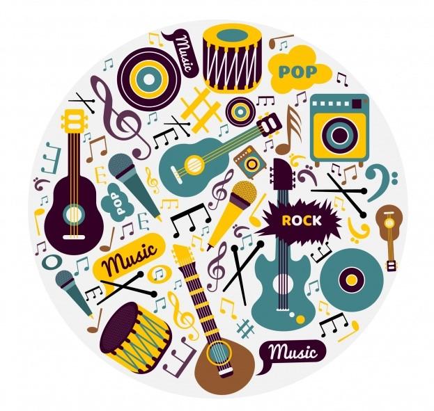 Fondo de instrumentos musicales en estilo Vitage