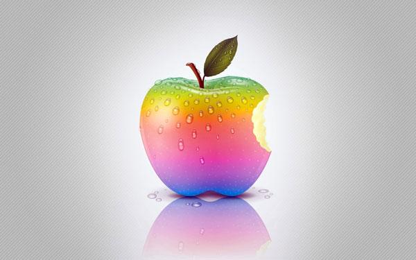 Fondo de manzana de colores realista