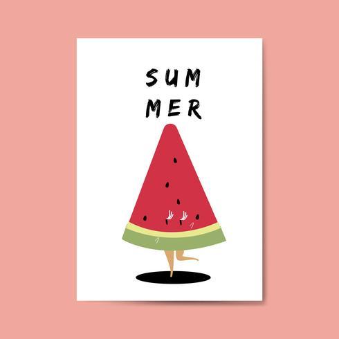 Sandia animada disfrutando el verano