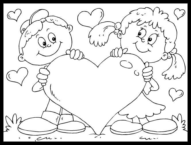 imagen del dia de san valentin para colorear