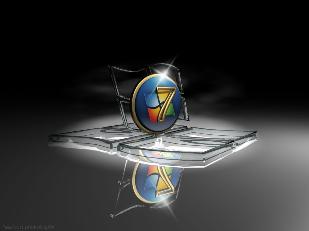 Windows 7 wallpaper 5 - Glass and gold Seven