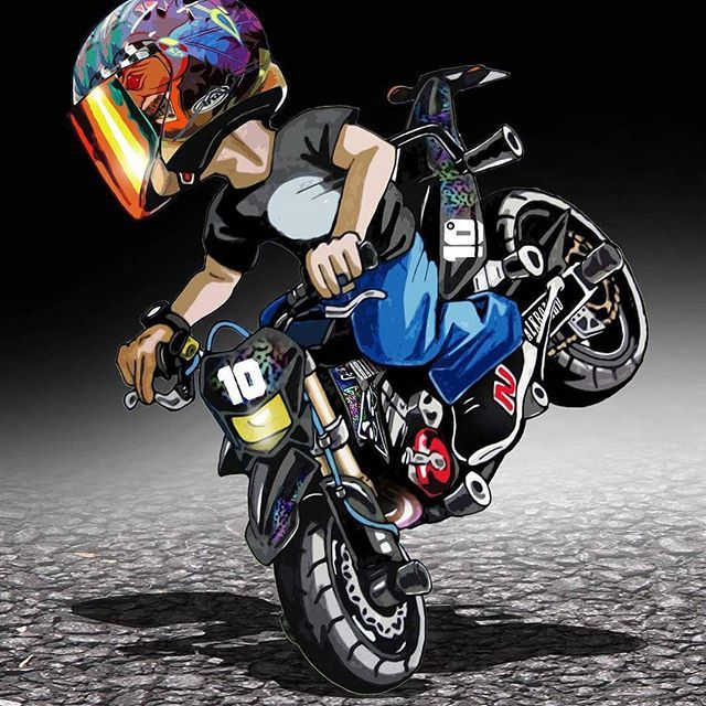 Caricatura de motociclista stunt