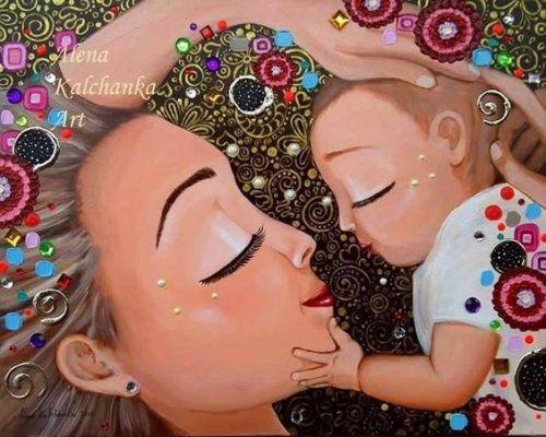madre e hijo felices