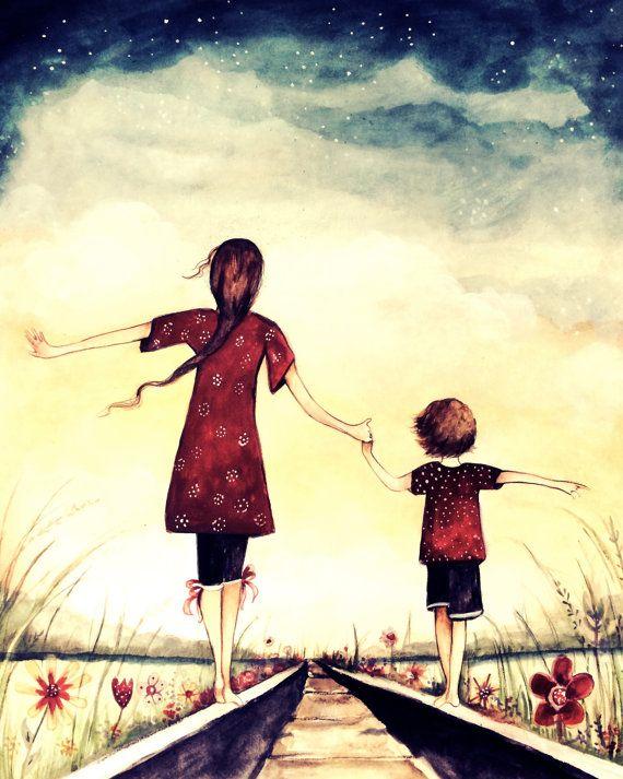madre e hijo caminando