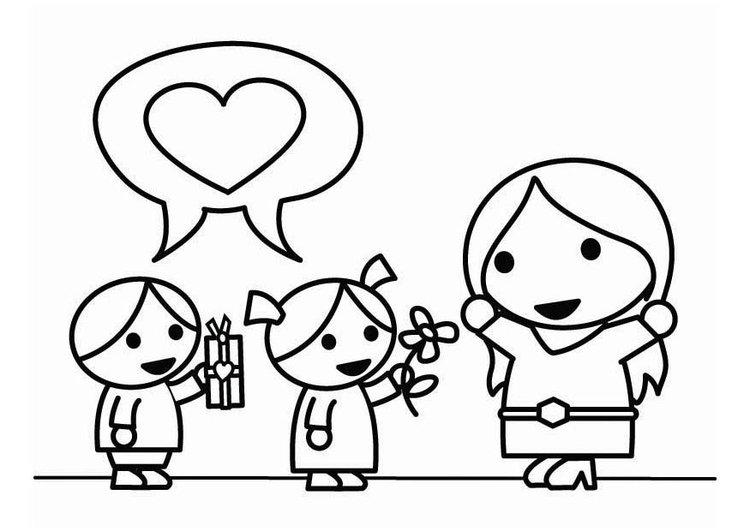 imagenes de madres e hijos para colorear