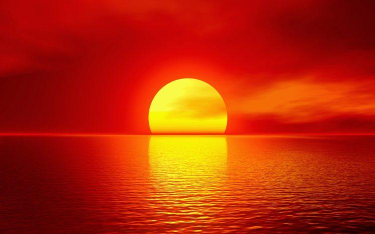 Imagen puesta de sol en rojo con cielo y maar