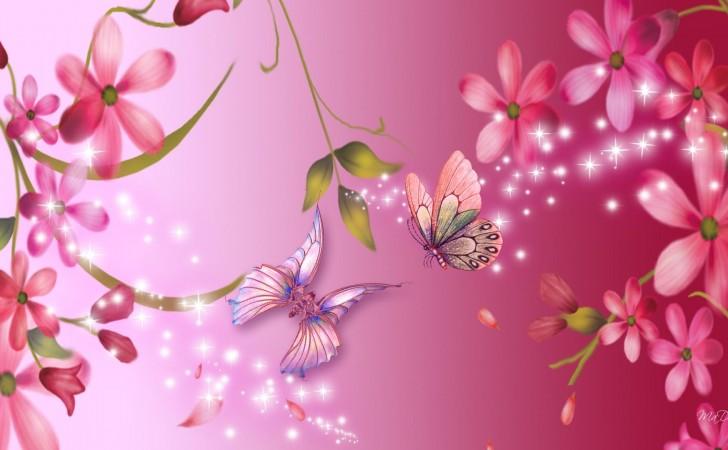 Wallpaper borboletas rosa