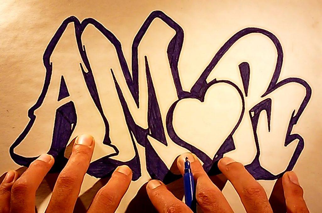 imagenes de graffitis para dibujar de amor