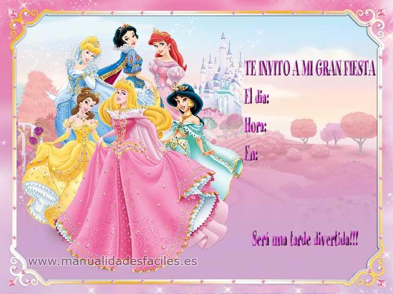 invitaciones de princesas disney para imprimir