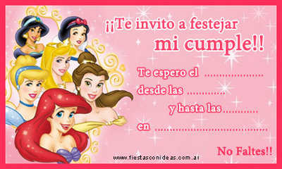 invitaciones de princesas disney para imprimir gratis