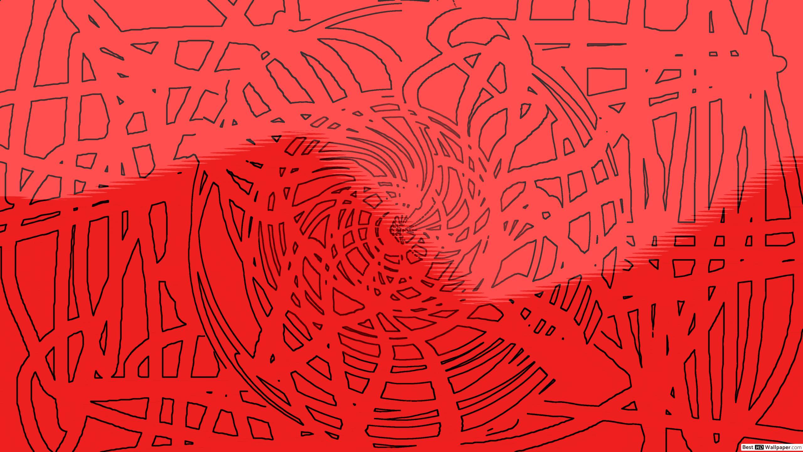 Hermoso diseño de remolinos en rojo papel pintado