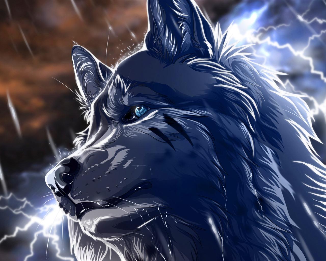 Lobo en 3d con ojos azules