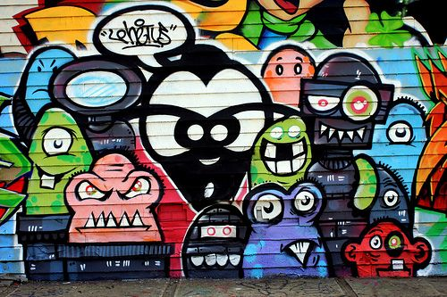 fondo de pared graffitis