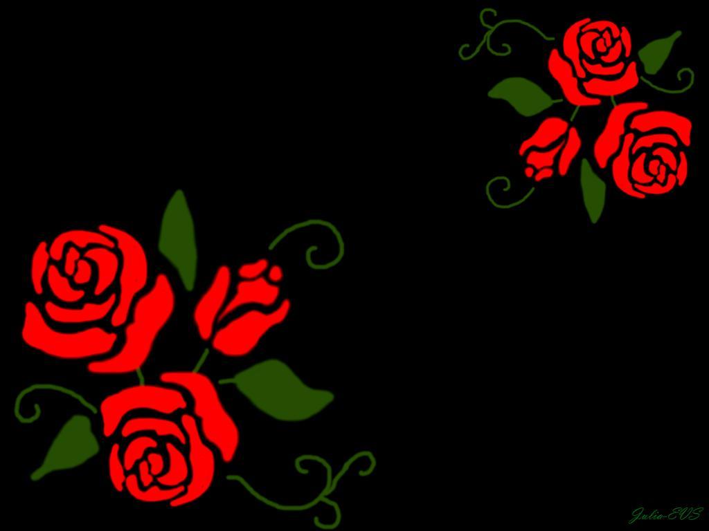 Fondo negro con rosas rojas
