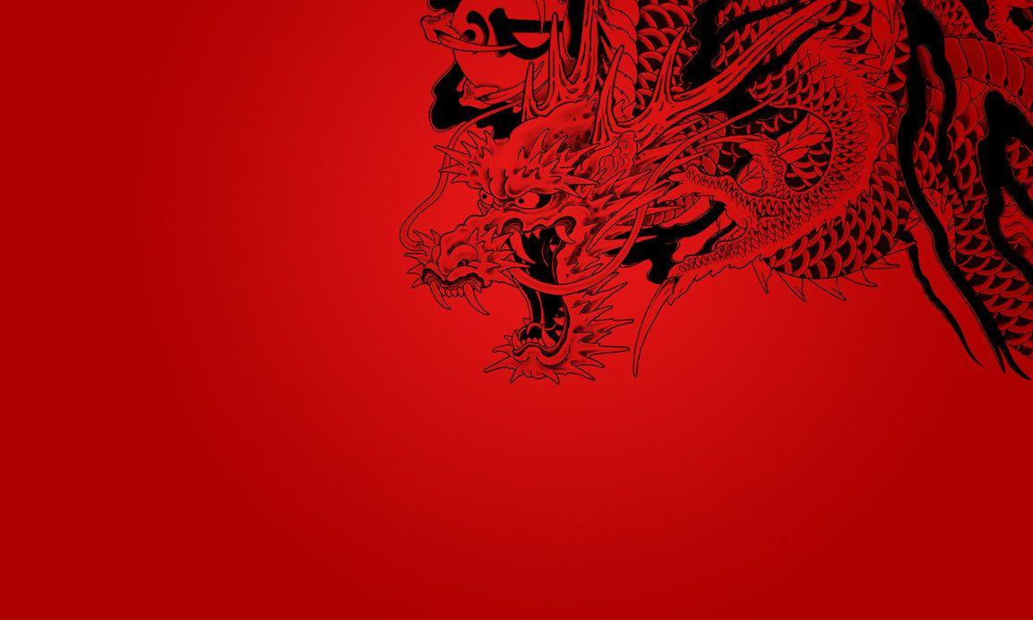 Dragon con fondo rojo