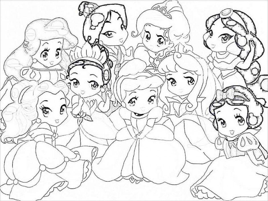 Colorea estas Princesas bebes