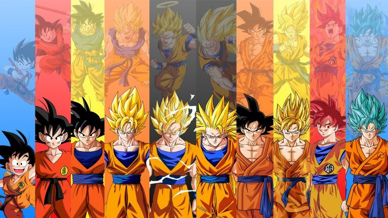 Goku en todas sus fases Dragon Ball