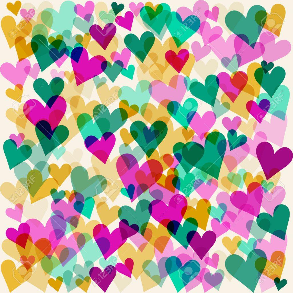 fondo de corazones de colores pasteles