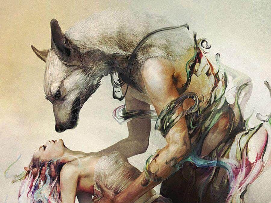 imágenes de hombres lobo con mujeres
