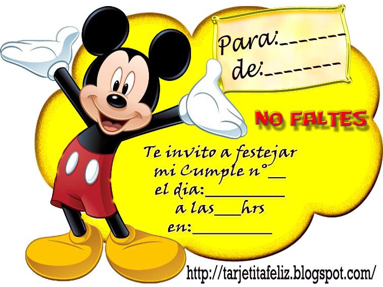 invitaciones de mickey mouse personalizadas para imprimir