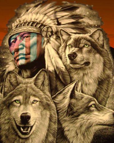 Fondos de indios y lobos