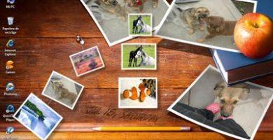 Fondo de escritorio con un collage de imágenes