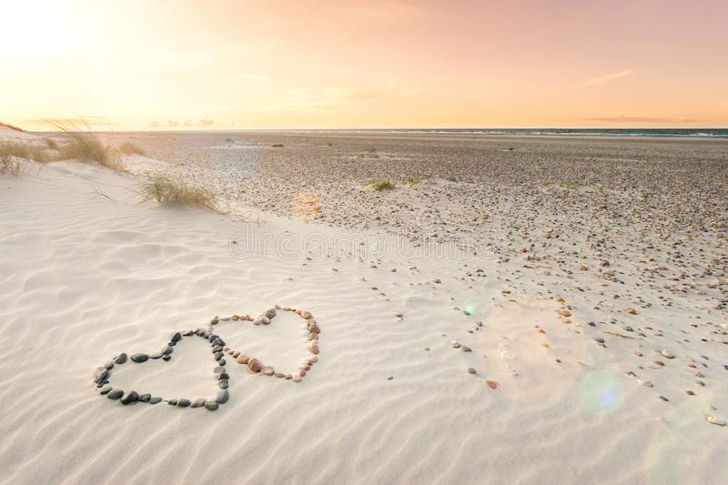 Sunset, Sand, Love, Hearts